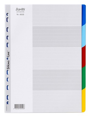 Bantex 6005-00 PP Colored Index Divider 膠質索引分類 - 彩色 A4(5 Tabs)