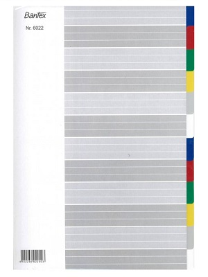 Bantex 6022-00 PP Colored Index Divider 膠質索引分類 - 彩色 A4(12 Tabs)